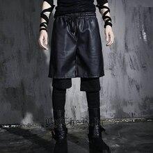 HOT 2017 NEW fashion casual male singer fake two trousers costumes nightclub bar DJ Men's leggings punk rock hip hop pants