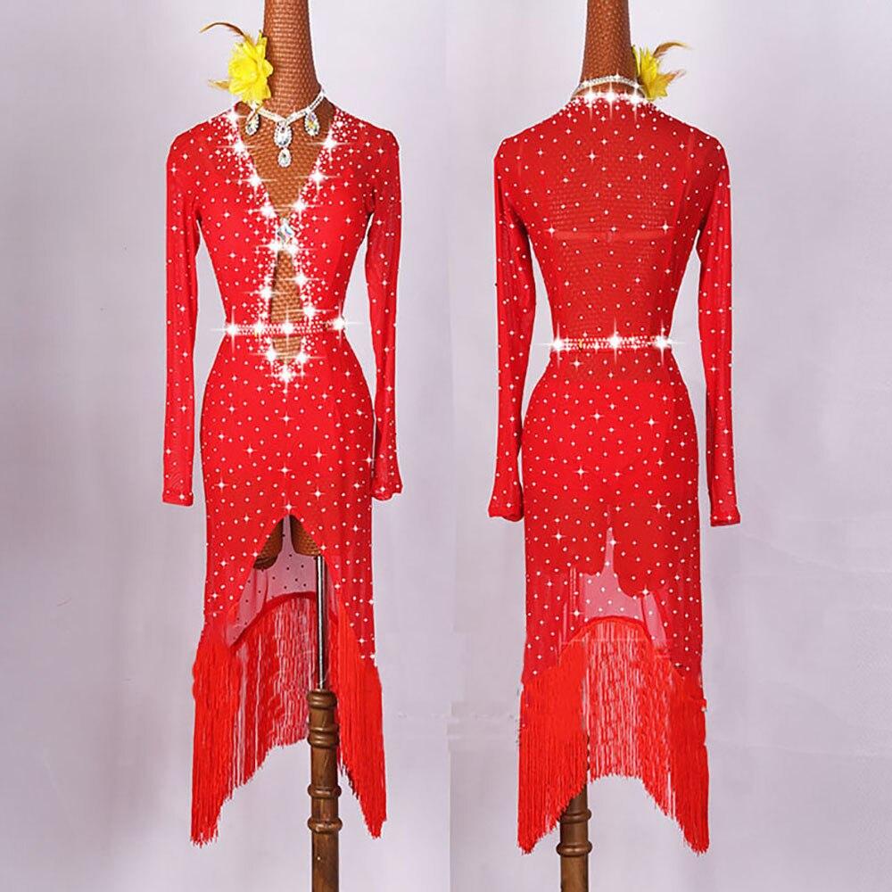 Original Latin Dance Dresses For Ladies Black Red Color Gauze Feminine Clothes Fashion Women Professional Ballroom Suits E001