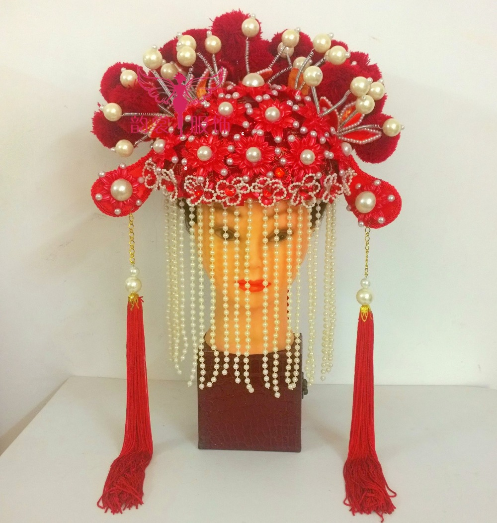 Red Traditional Chinese Wedding Hair Tiaras for Bride Feng Guan Xia Pi for Photo House or Performance Headwear for Women 03 red gold bride wedding hair tiaras ancient chinese empress hat bride hair piece
