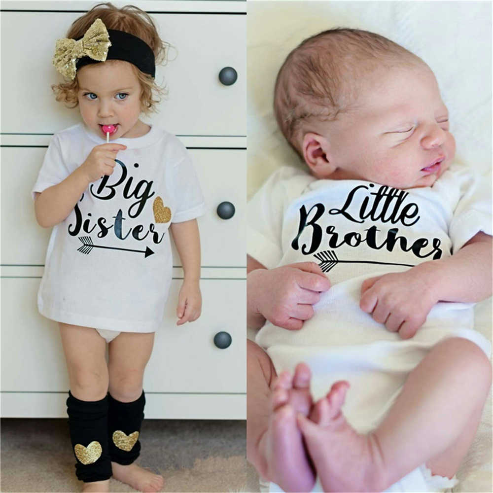 Summer Big Sister Little Brother Family Matching Toddler Kids Baby Boys Little Brother Romper Girls Big Sister Tshirt