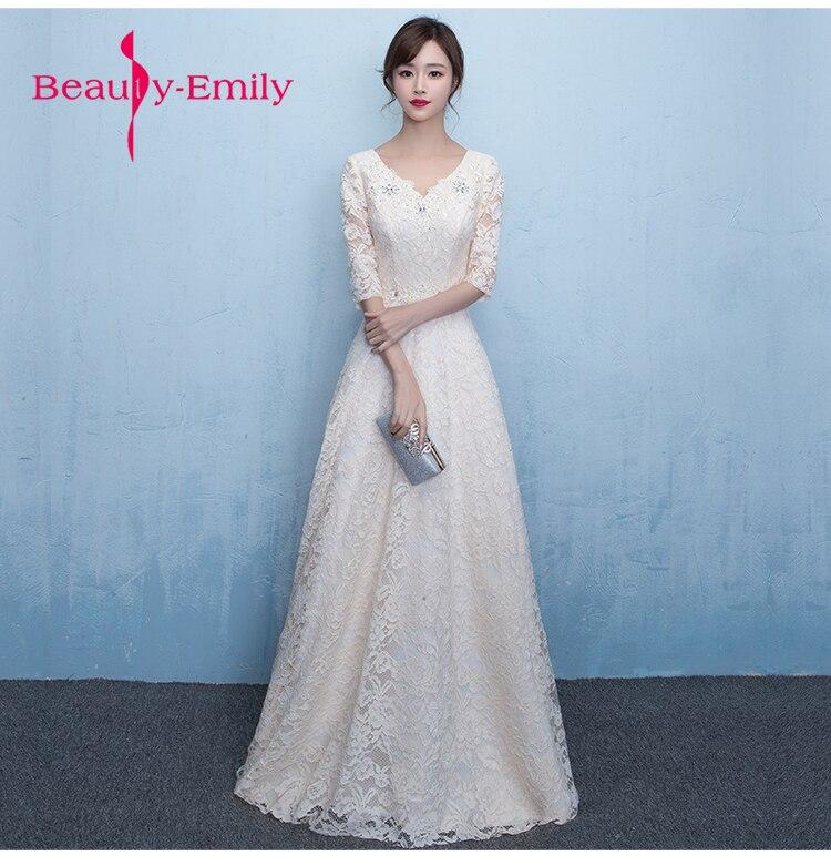 Beauté Emily une ligne longue robe De soirée partie élégant Vestido De Festa expédition rapide jamais jolie dentelle blanche fleur robes De bal