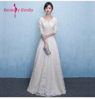 Beauty Emily A Line Long Evening Dress Party Elegant Vestido De Festa Fast Shipping Ever pretty white Lace flower Prom Gowns