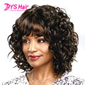Ombre Hair Brown Short Curly Wigs For Black Women Perruque Synthetic Women Wig With Bangs Pelucas Sinteticas Ombre u part wig