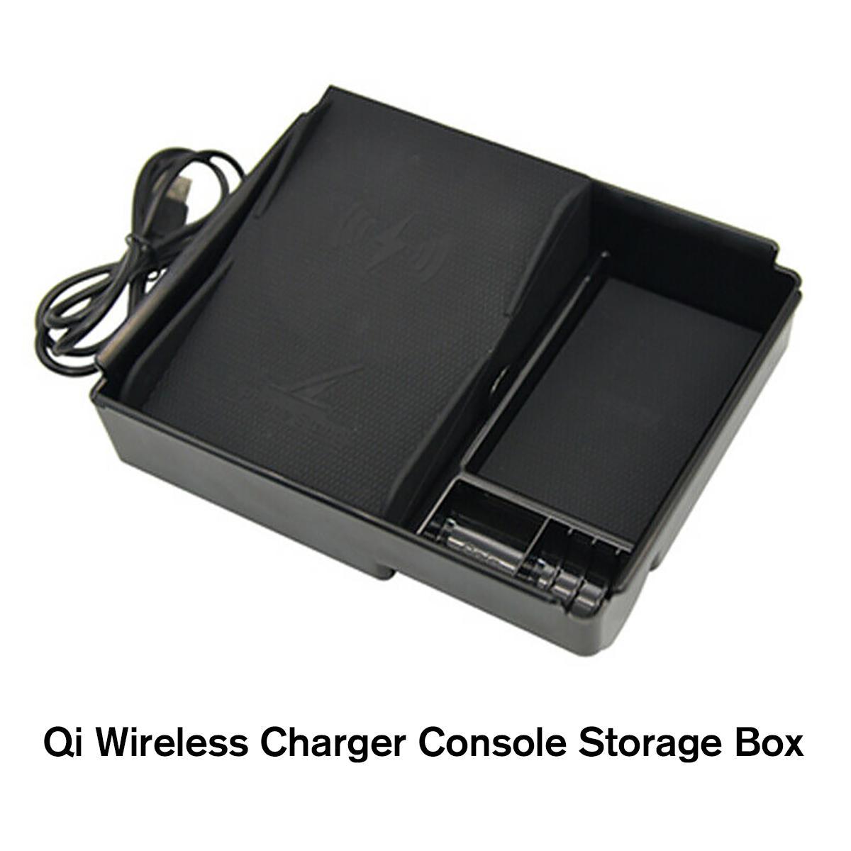Console de voiture plateau accoudoir boîte de rangement + Qi chargeur de téléphone sans fil pour Tesla modèle 3 chargeur de téléphone de voiture conteneur de porte-monnaie