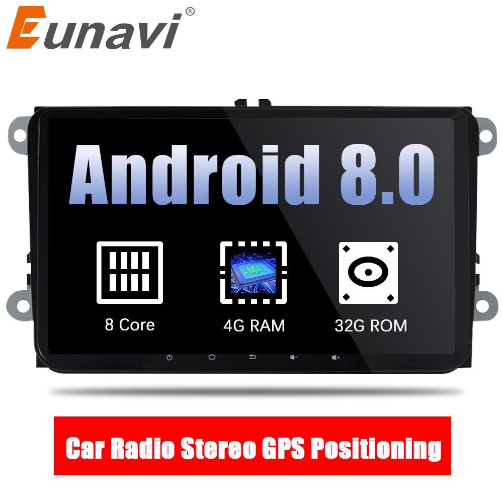 Eunavi 2 din 9'' Android 8.0 Octa Core Car Radio Stereo GPS for VW Passat B6 CC Polo GOLF 5 6 Touran Jetta Tiguan Magotan Seat