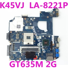 K45VJ QCL40 LA-8221P GT635M 2G Mainboard REV 1.0 For ASUS A45V A45VJ K45V K45VM K45VS K45VD A85V Laptop motherboard 100% Tested for asus k60ij laptop motherboard mainboard 100% tested free shipping