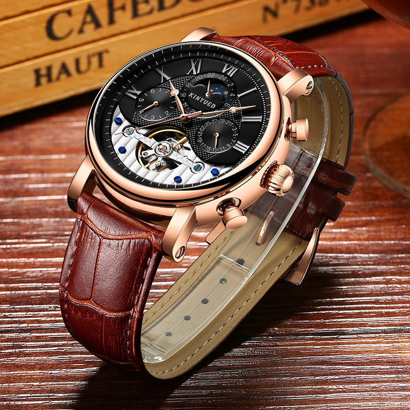 KINYUED Business Men Watches Skeleton Mechanical Mens Fashion Watch Automatic Perpetual Calendar Sprots reloj automatico hombre kinyued automatic watch men sapphire dial business mechanical self winding watches moon phase calendar reloj hombre with box