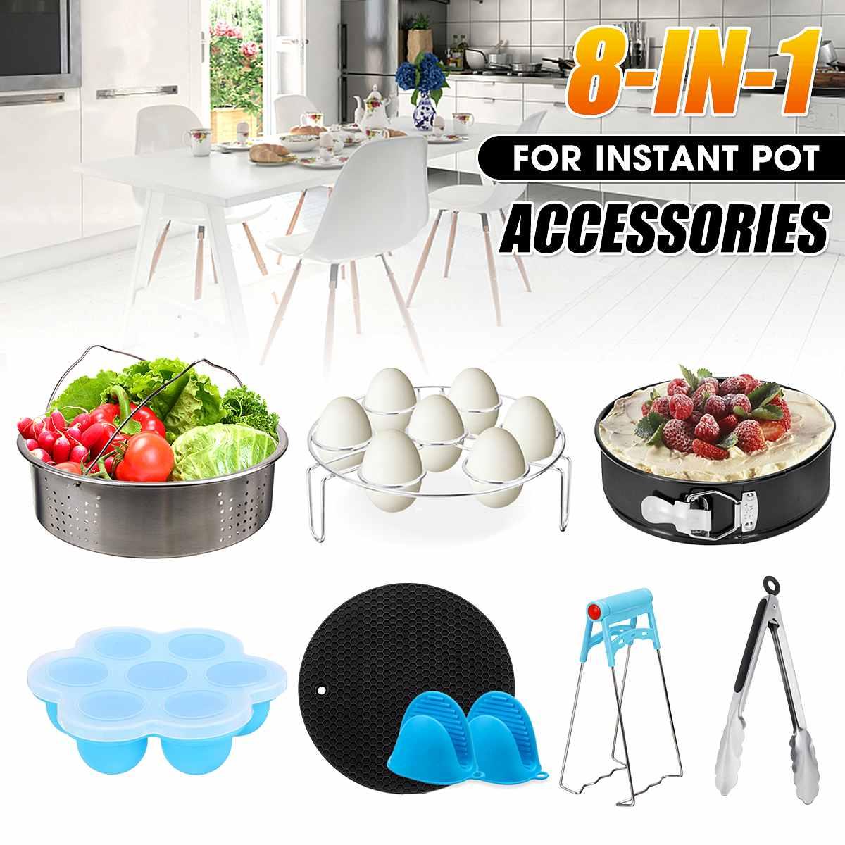 8 pièces ensemble Pot instantané accessoires panier vapeur antiadhésif Springform Pan Silicone Mat autocuiseur accessoires outils de cuisson