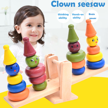 Peradix Wooden Clown Balanced Block Toy Multicolor Wooden Safe Material Decor Kidsroom Desktop earrings