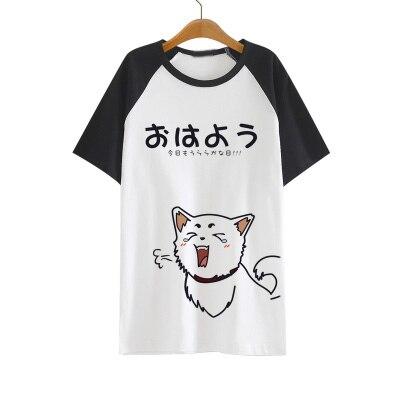 Camiseta Anime Gintama Soul Silver Sadaharu Elizabeth Atuando Bonito Padrão T-shirt de Algodão de Manga Curta T Para Mulheres Dos Homens
