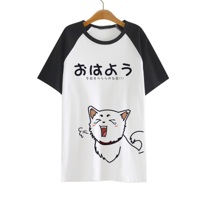 Gintama Silver Soul   T     shirt   Anime Sadaharu Elizabeth Acting Cute Pattern   T  -  shirt   Cotton Short Sleeve Tees For Men Women