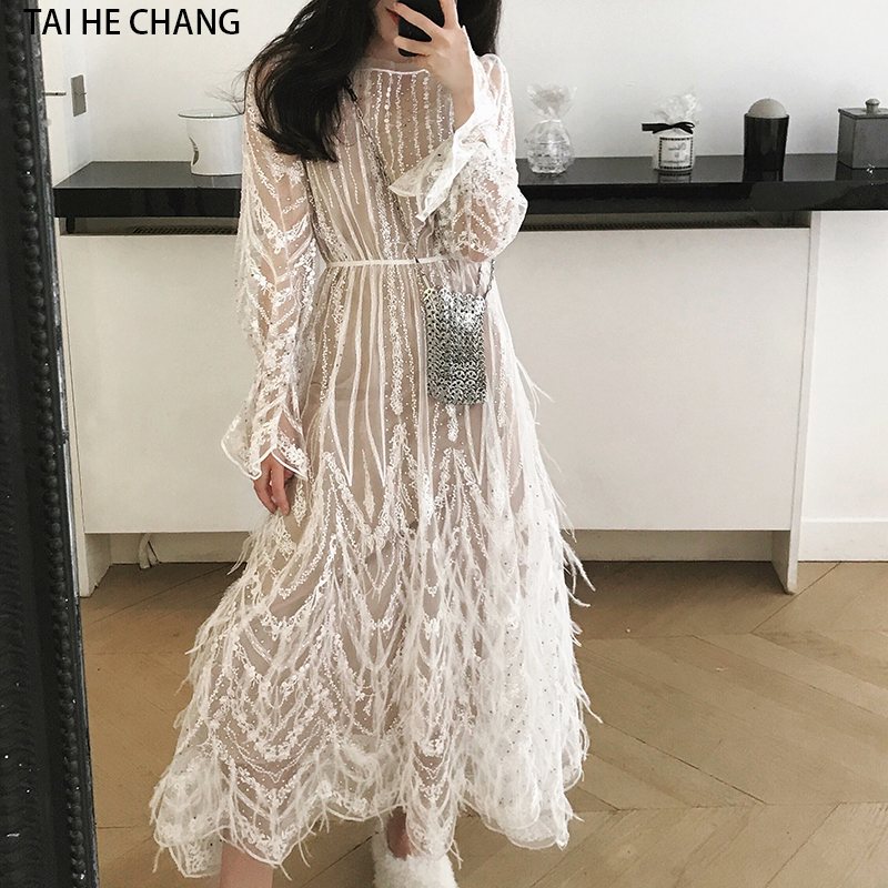 Women Dress New Fashion Spring Summer High-end Elegant  Tassels Feathers Sexy Formal Party White Runway Long Sleeve Mesh Dress