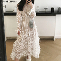 women dress new fashion spring summer high end elegant tassels feathers sexy formal party white runway long sleeve mesh dress