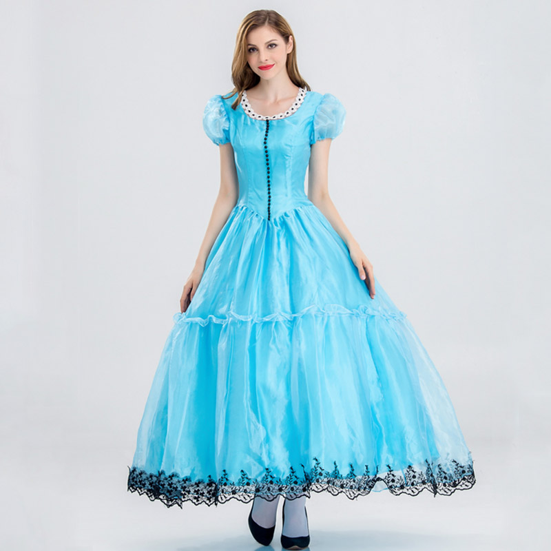 <font><b>Alice</b></font> <font><b>in</b></font> <font><b>Wonderland</b></font> Cosplay <font><b>Costumes</b></font> Adult Women <font><b>Alice</b></font> Dresses Princess Queen Female Blue <font><b>Sexy</b></font> Dress Party Dancing Wear image