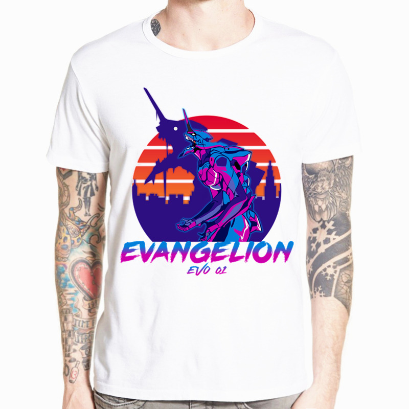 Neon Genesis Evangelion   T     shirt   ATTACK ANGEL EVA 01 02 Anime   T  -  shirt   Short sleeve O-Neck Tshirt For Men HCP4486