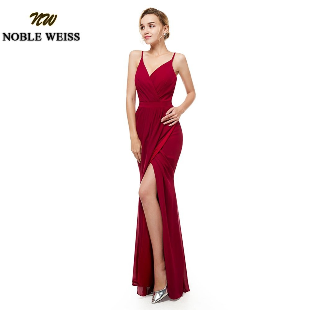 NOBLE WEISS Wine Red Bridesmaid Dress Spaghetti Straps Wedding Party Gowns Long Chiffon Split Skirt Bridesmaid Dresses