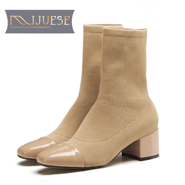 MLJUESE 2019 women Mid calf boots knitting stretch fabric pointed toe slip on autumn spring women martin boots socks boots ombre circle calf length socks