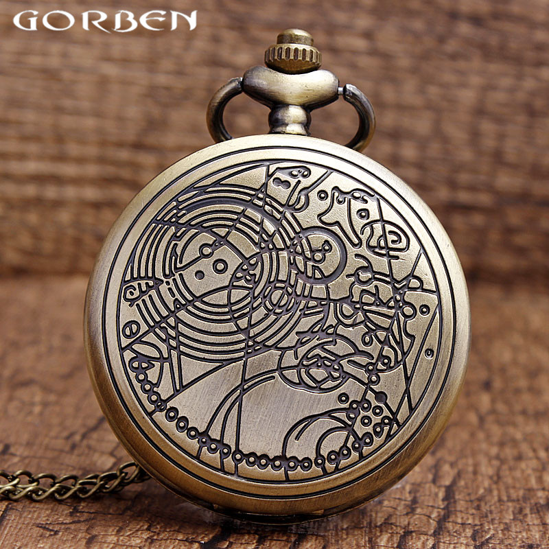 Men Watch Doctor Who Theme Bronze Vintage Quartz Fob Pocket Watch With Chain Antique Necklace Best Retro Gift For Men Women P316 mingen fashion paris scene bronze men quartz pocket watch chain souvenir gift