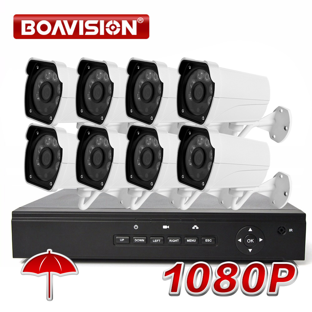 BOAVISION 8CH 1080 p POE NVR Sistema CCTV Kit con 8 pz 1080 p 2MP IR 20 m Pallottola POE IP Della Macchina Fotografica del Sistema di Sicurezza Esterna XMEYE P2P