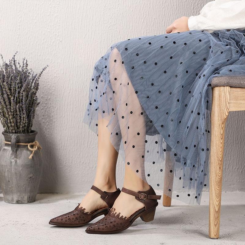 2019 VALLU ใหม่มาถึงผู้หญิง Retro สไตล์รองเท้าแตะเลดี้หนังแท้ Retro โลหะหัวเข็มขัดรองเท้าผู้หญิงรองเท้าส้นสูงรองเท้า-ใน รองเท้าส้นสูงปานกลาง จาก รองเท้า บน   3