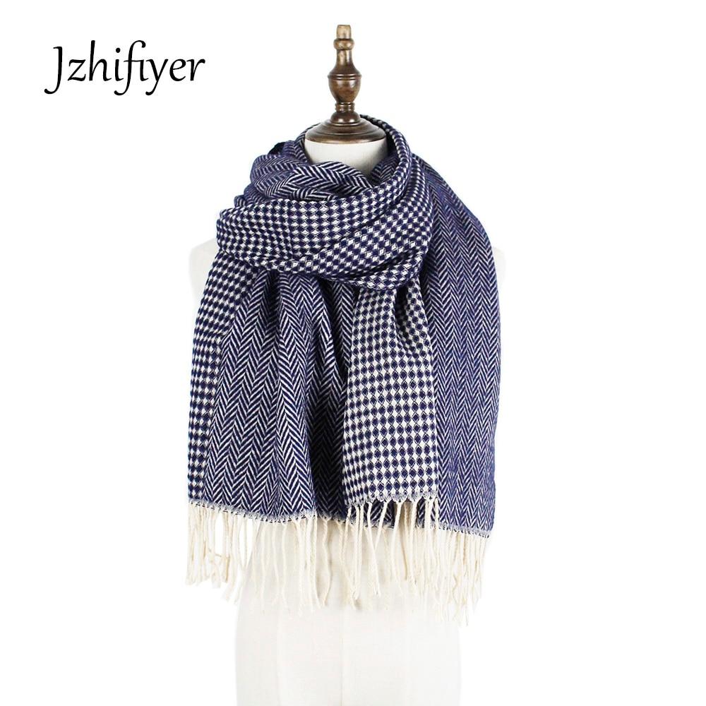 winter scarf designer wool cashmere plain scarf women herringbone long women's cashmere pashmina tassel scarf wrap