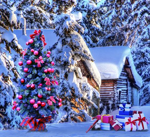 xft amanecer de invierno cubierto de nieve de madera casa de colores del rbol de navidad