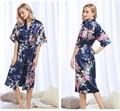 Trajes de Satén para Las Novias de La Boda de lujo Pijama Animal Print Largo Camisón De Seda Robe Pijamas Albornoz Informal Mujeres Kimono S-XXXL