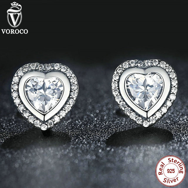 925 Silver Love Heart Shape Stud Earrings Women Clear Cubic Zirconia Compatible with VRC Silver Jewelry Accessories S405