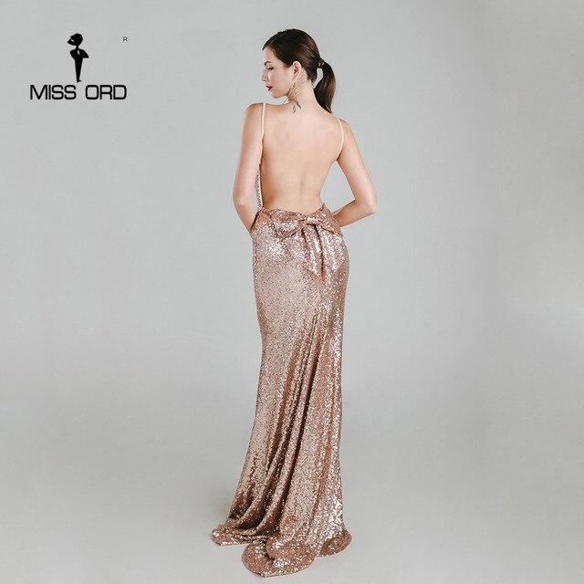 Missord 2019 Sexy halter Bow V-neck  party dress sequin maxi dress FT3995 2