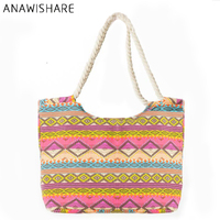 61814d4856 ANAWISHARE 2018 Summer Women Canvas Handbags Printing Tote Shopping Bags  Large Female Beach Shoulder Bag Bolsa
