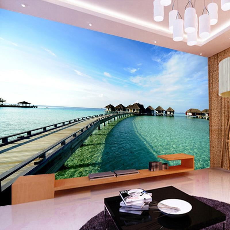Custom Mural Wallpaper Wooden Bridge Mediterranean Scenery Decorative Wall Painting Living Room TV Background Photo WallPaper 3D