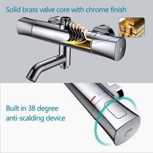 Image 4 - MICOE shower set thermostatic shower mixer Chrome faucet body copper casting faucet 5 mode nozzle
