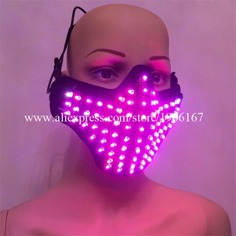 Красочные подсветкой маска ночной клуб показать осветить реквизит певица танцевальная одежда дышащая Хэллоуин маскарад Маски для вечерин…