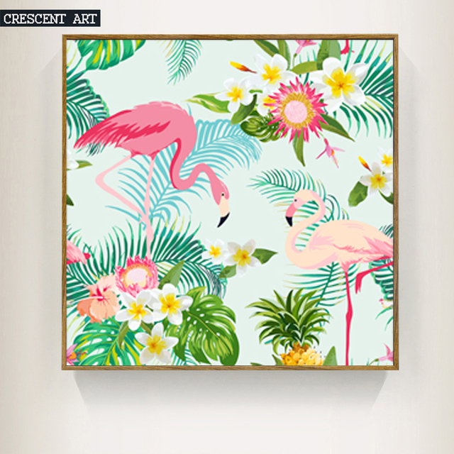 Summer Tropical Flower Animal Pink Flamingo Wall Art Posters And Prints Canvas Picture Home Decoration