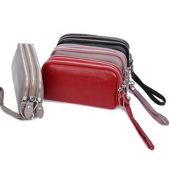 17.5x10x4cm Fashion Women's Genuine Leather Large Capacity Wallet Clutch Handbag Ladies Zip Coin Purse with Wristlet