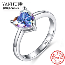 YANHUI New Romantic Gift Multicolor Heart Ring 925 Pure Silver Crystal Ring Wedding Accessories Engagement Ring For Women RA0522