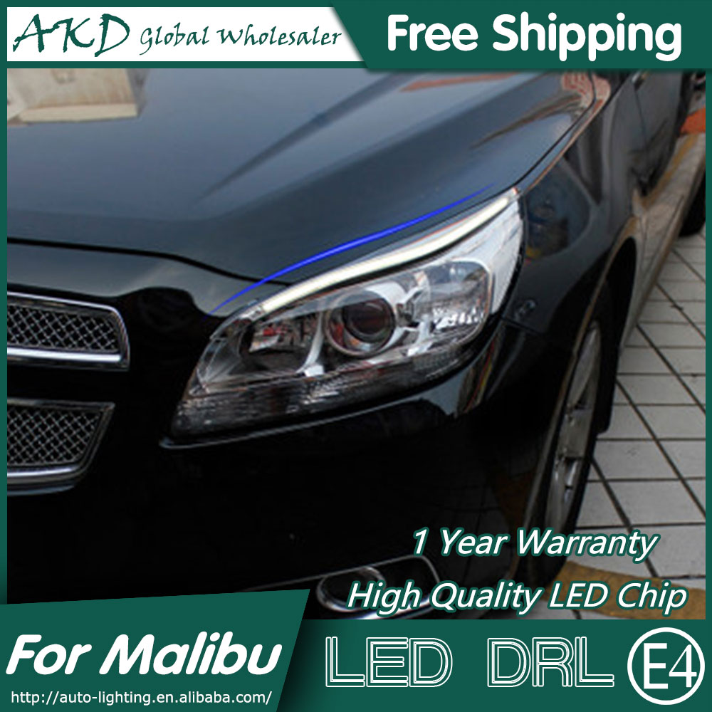 AKD Car Styling LED DRL for Chevrolet Malibu 2011-2015 New Malibu Eye Brow Light LED External Lamp Signal Parking Accessories akd car styling led drl for kia k2 2012 2014 new rio eye brow light led external lamp signal parking accessories
