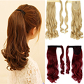 "New Hot Sale 17"" 120g   Long Curly Synthetic Hair Wrap On Ponytail Hair Extension Pony Tail  Any Color Free Shipping"