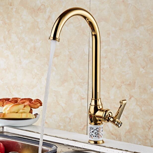 Kitchen faucet gold Copper water tap cold and hot Sink faucet Vegetable washing basin sink mixer