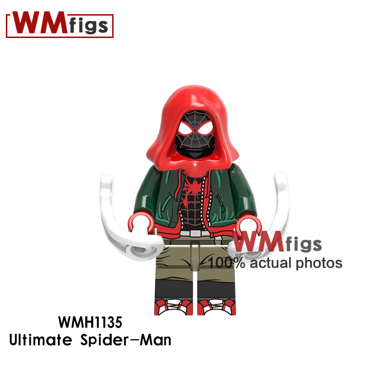 Toys & Hobbies Blocks New Spiderman Legoings Marvel Movie Spiderman Into Spider Verse Miles Morales Kingpin Spider-ham Building Blocks Toys Kids Gift