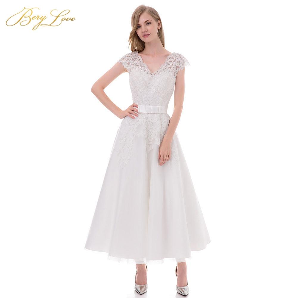Tea Length White Wedding Dress 2019 Short V Neck Lace