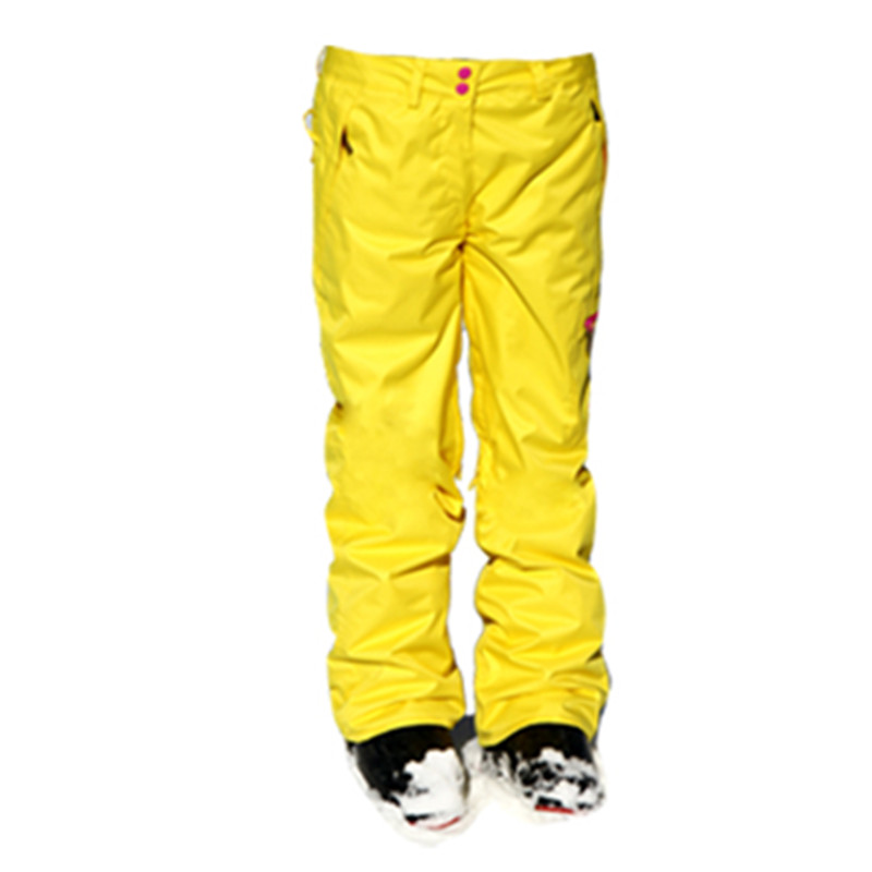 2016 Pink Snowboard Pants Suspenders Ski Pants Women Warm Yellow Snow Pants Women Waterproof Outdoor Esqui denim suspenders for ski pants men waterproof snow pants ski trousers thick warm breathable jean snowboard pants plus size s 3xl