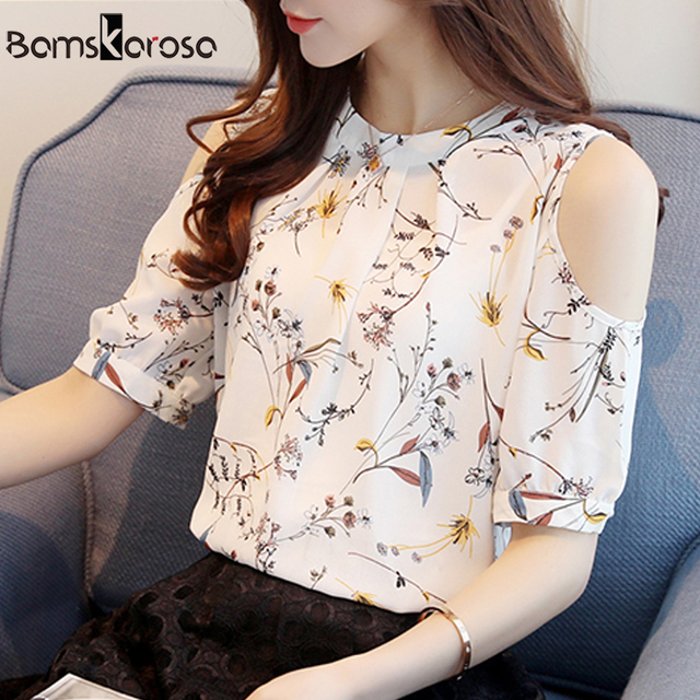 c46712f4a37d5 New 2019 Summer Chiffon Blouse Women Off Shoulder Blouses Shirt Sexy Short  Sleeve Loose Floral Print