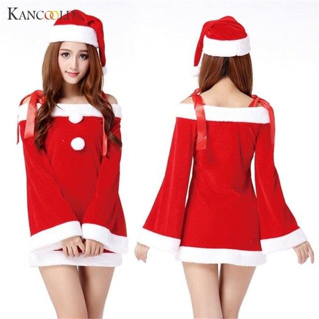 Christmas Dress Women Ladies Sexy Santa Costume Women Mrs Christmas Party  Fancy Dress Cosplay Suit Mini Dress Vestidos AU023 e932676fd970