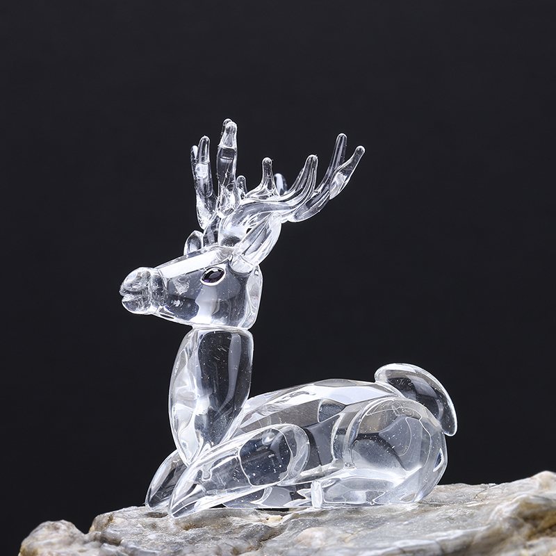 H&D Deer Tiny Micro Crystal Figurines Clear Glass Art Wild Animals Collectible Gift Home Decor|Figurines & Miniatures| |  - title=