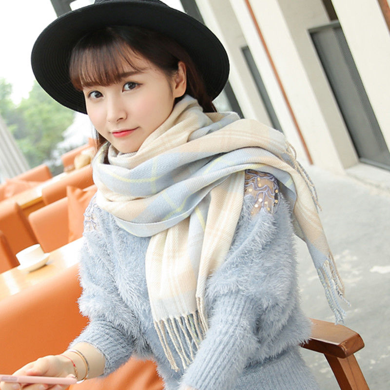 VEITHDIA 2018 Autumn Winter Female Wool Plaid   Scarf   Women Cashmere   Scarves   Wide Lattices Long Shawl   Wrap   Blanket Warm Tippet