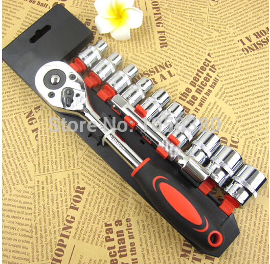 12pcs 1/2 drive socket set chrome combination sockets ratchet wrench set Motorcycle bicycle vehicles Automotive repairing 20pcs m3 m12 screw thread metric plugs taps tap wrench die wrench set