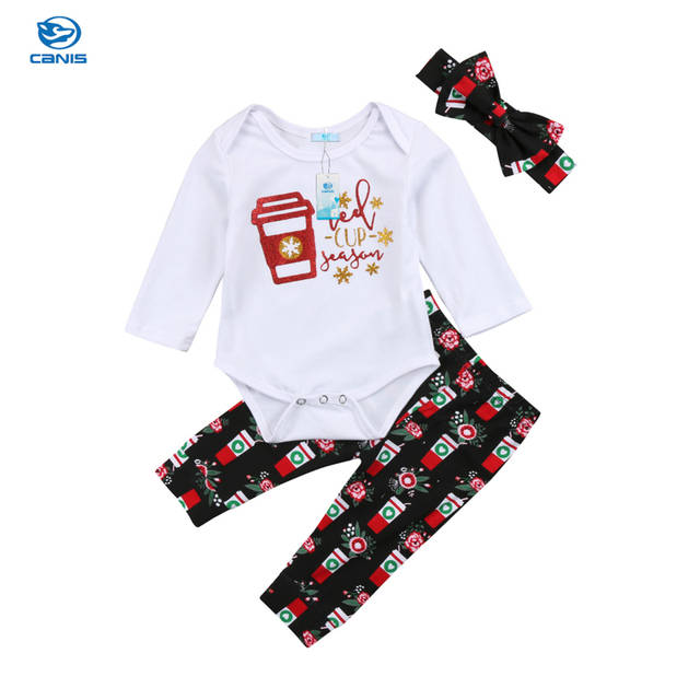 5798640df Online Shop Xmas Cotton Lovely Toddler Baby Boys Girls Christmas Romper +  Long Pants Headband Clothes Outfit New Fashion Cute Set 0-24M   Aliexpress  Mobile