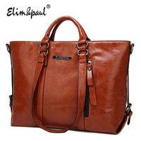 ELIM PAUL Women Top Handle Bags Female Fashion Tote Business Shoulder Bags Women PU Leather Crossbody
