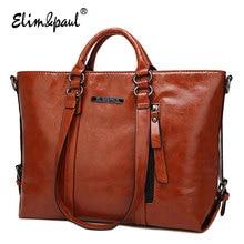 ELIM&PAUL Women Leather Handbags Top-Handle bags ladies tote retro shoulder bags crossbody bag bolsos women messenger bags A003